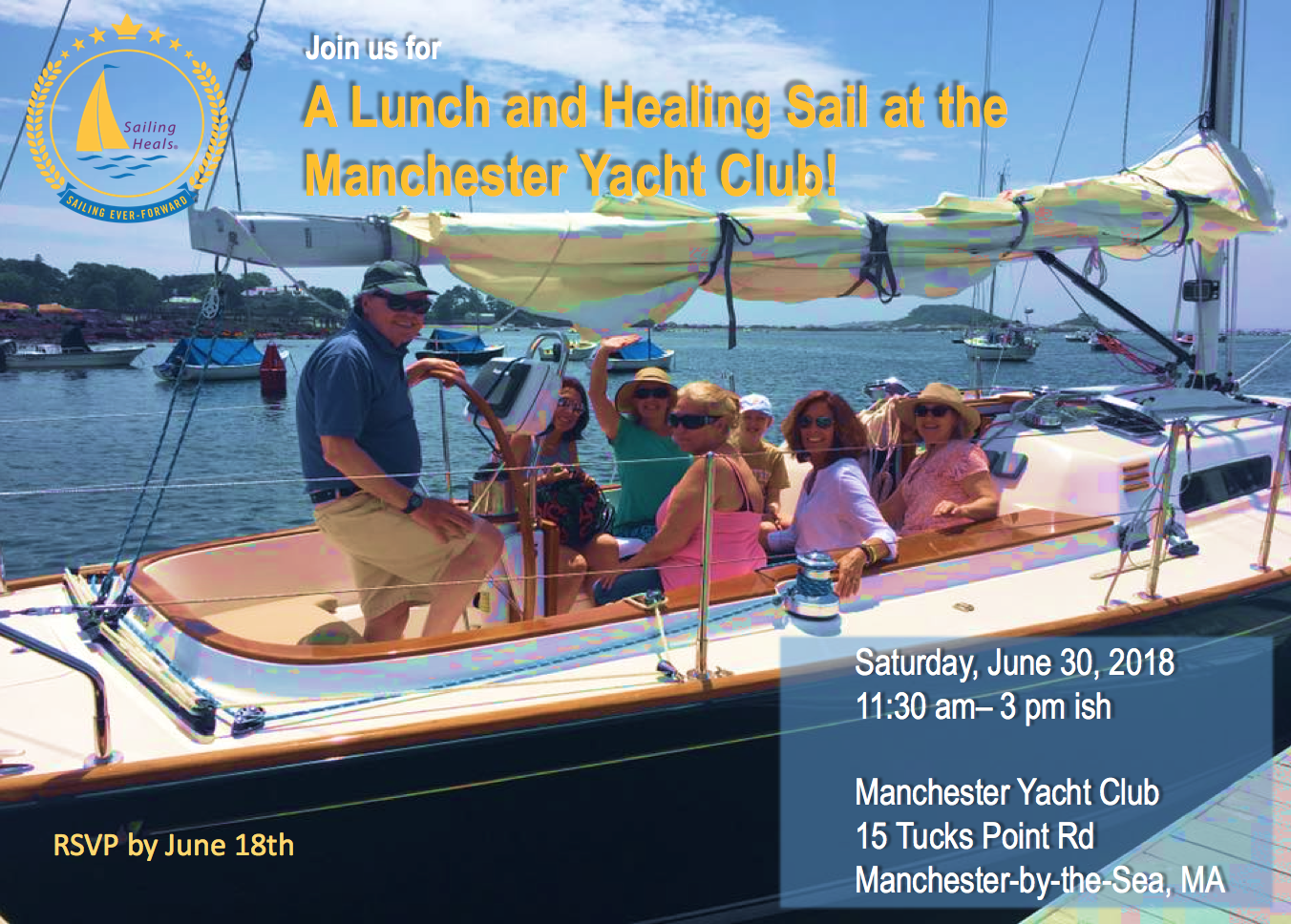 6/30/18 Manchester Lunch and Healing Sail!