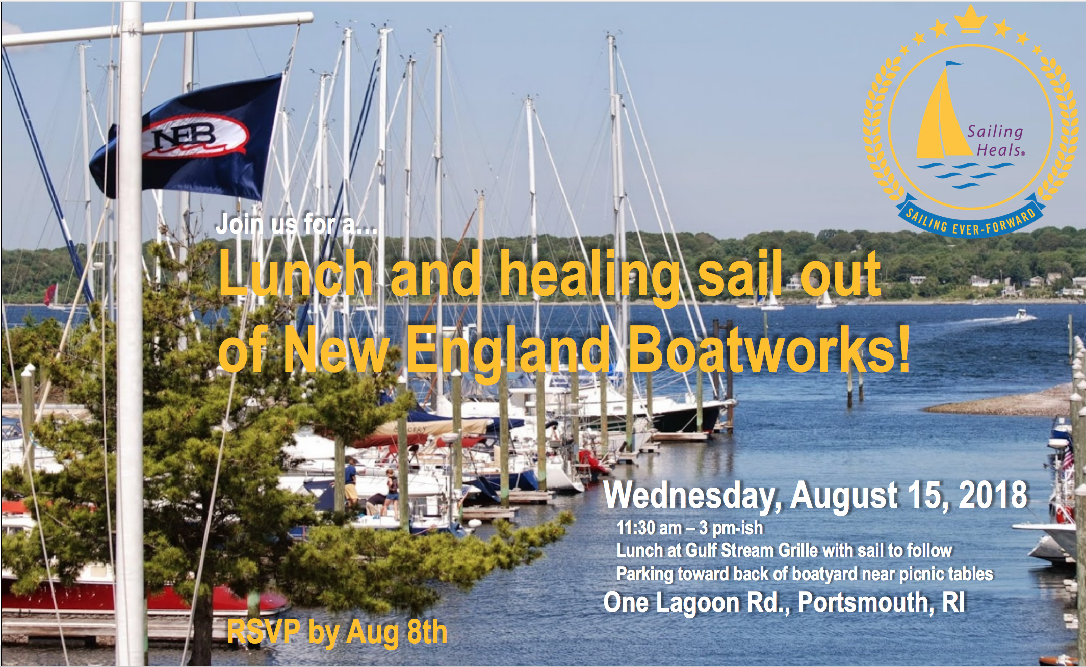 8/15/18 New England Boatworks Lunch and healing sail