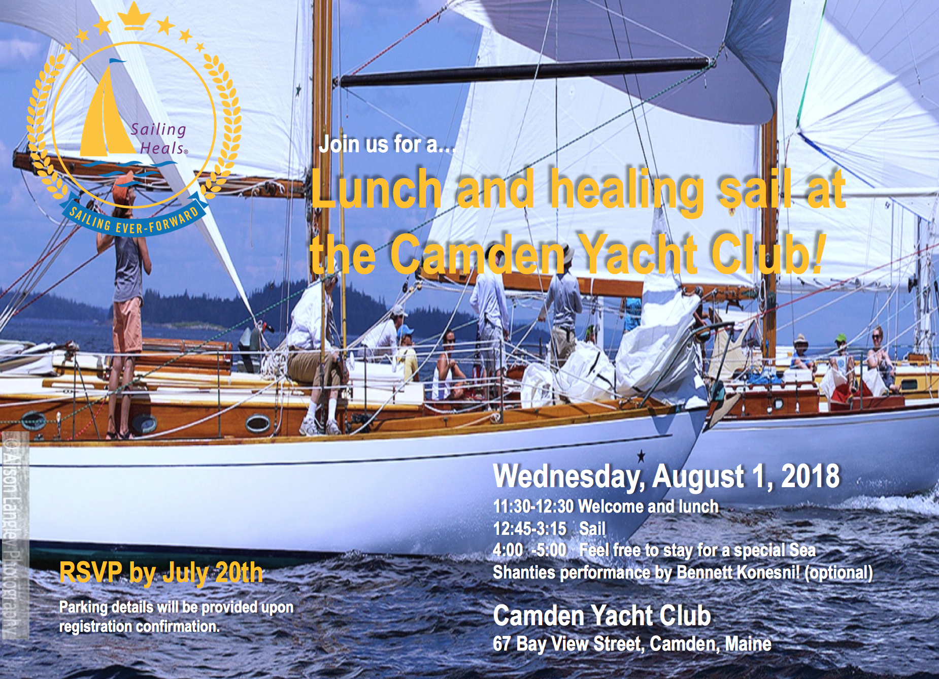 8/1/18 Camden Yacht Club Lunch and Healing Sail