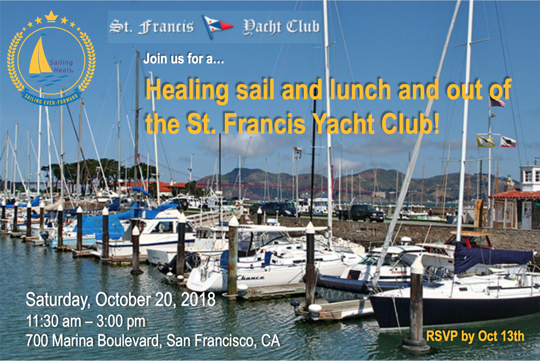 10/20/18 St. Francis Yacht Club lunch and healing sail