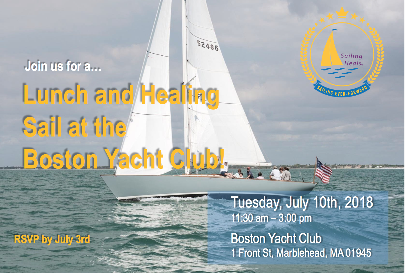 7/10/18 Boston Yacht Club Lunch and Healing Sail