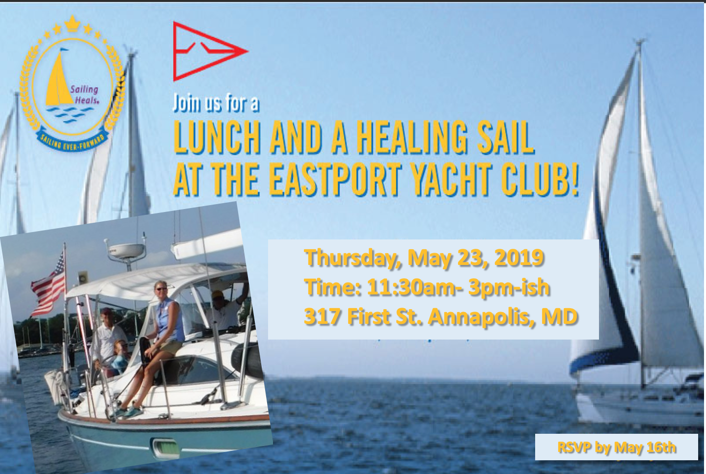 5.23.19 Eastport Yacht Club Lunch and Healing Sail!