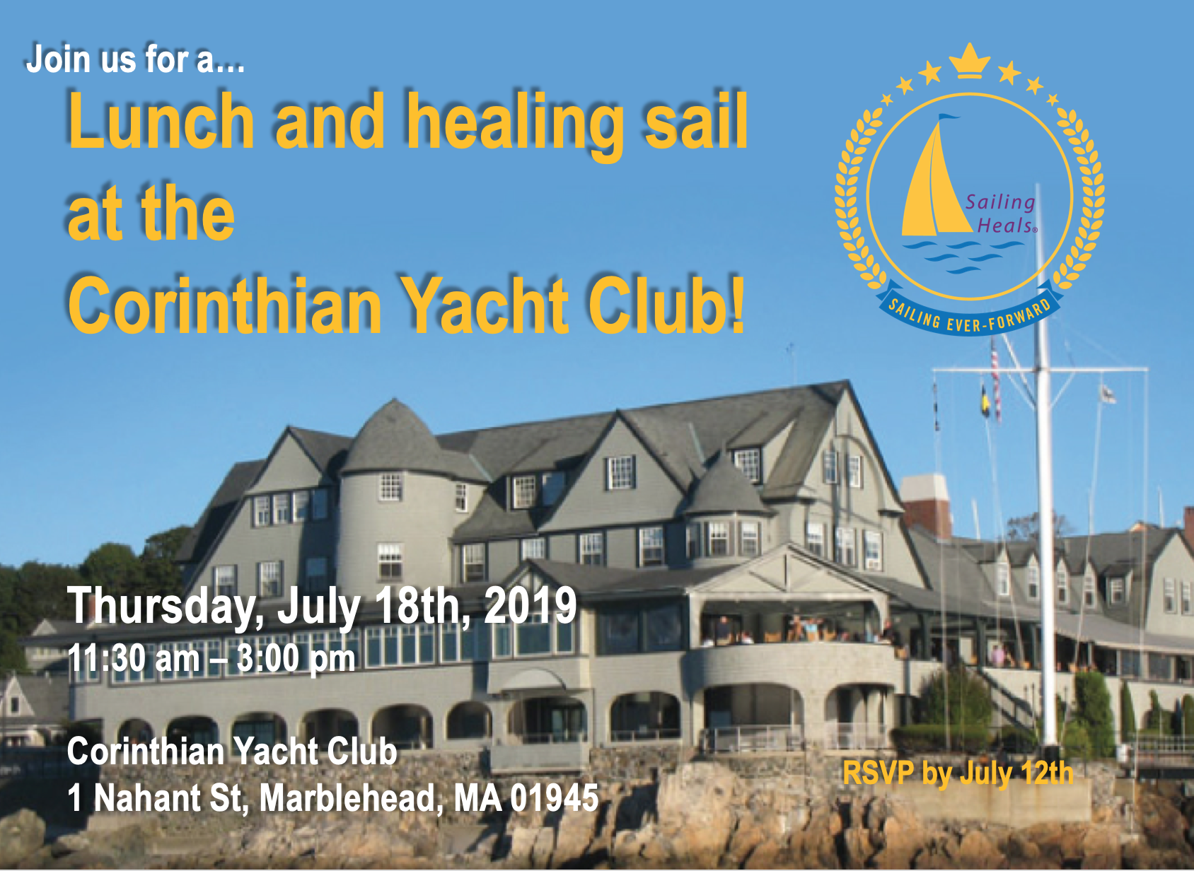 7.18.19 Corinthian Yacht Club lunch and healing sail