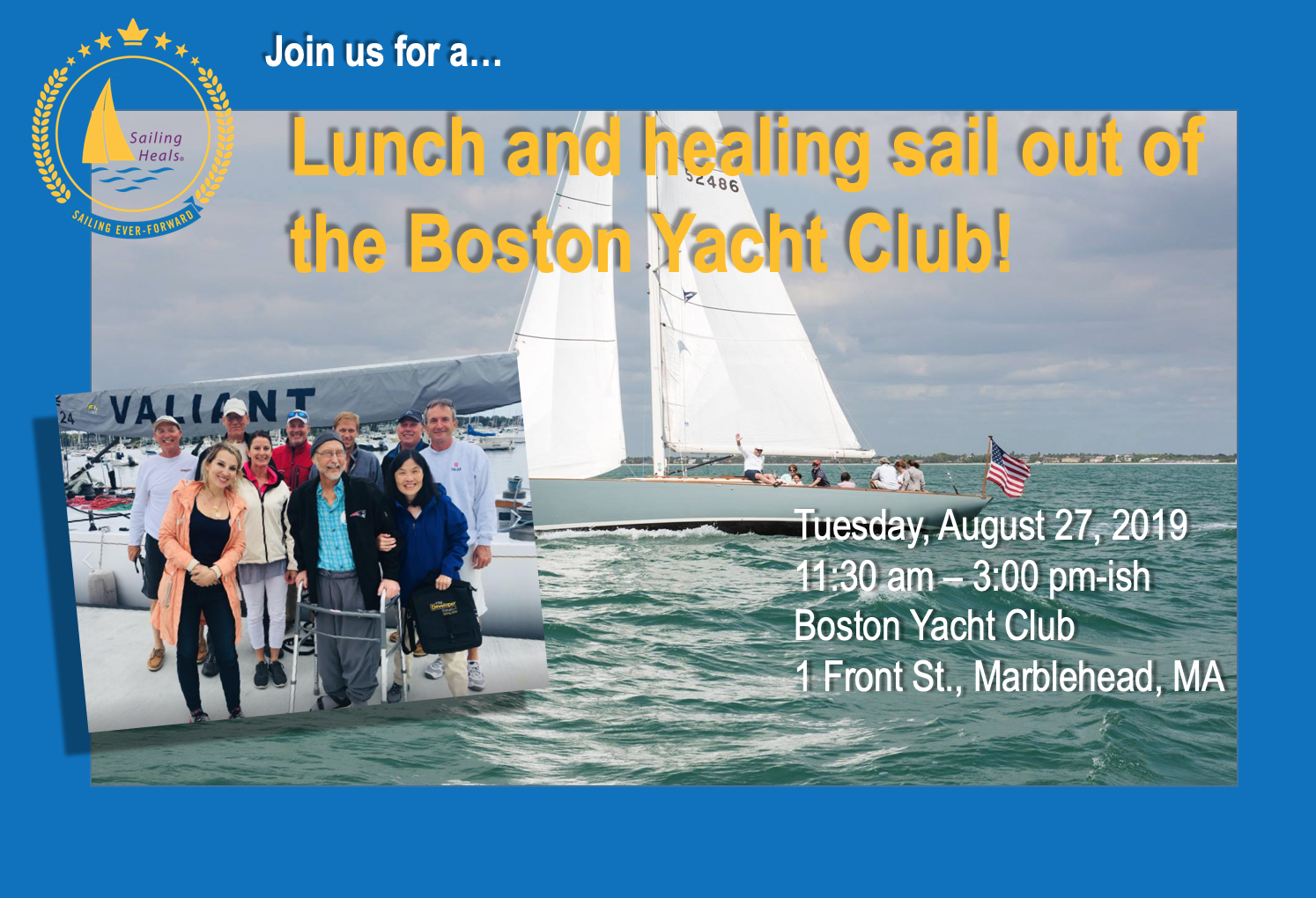 8.27.19 Boston Yacht Club Lunch and Healing Sail